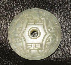 Vintage Jade Disk Pendant White Nephrite 1900s by ElegantArtifacts