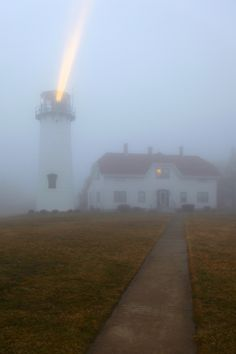 Chatham Lighthouse in fog, Massachusetts.  A lighthouse at work!