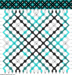 Friendship bracelet pattern - easy - diamonds, dots, cross, lines, triangles, gradient, x - 18 strings, 4 colors