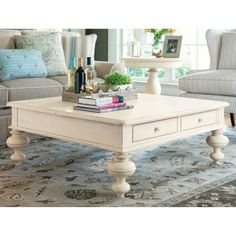 Paula Deen Home Put Your Feet Up Square Linen Wood Lift Top Coffee Table - 996801, Durable