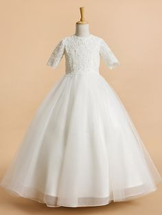 Lanting Bride A-line Tea-length Flower Girl Dress - Tulle Short Sleeve Jewel with Lace - USD $89.99