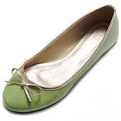 Ollio Womens Ballet Shoe Cute Enamel Ribbon Accent Multi Color Flat65 BM US Green -- Check this awesome product by going to the link at the image.