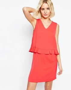 Paisie | Paisie V Neck Dress with Ruffle Trim