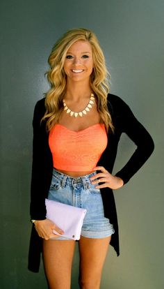 Crop top, cardigan, & high waisted jean shorts! Sooo cute :)