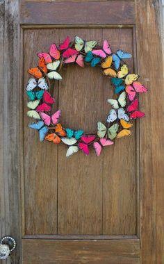 Spring Wreath Butterfly Wreath Butterfly Summer Wreath Colorful Wreath Butterfly Decor Front D Spring Door Wreaths, Summer Wreath, Wreaths For Front Door, Flip Flop Wreaths, Front Doors, Wreath Crafts, Diy Wreath, Diy Crafts, Wreath Ideas