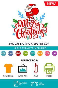 Merry Christmas SVG Cut Files Wall Art Quote Printable Art Decor room Art Printable Poster digital (Svg Dxf Cdr Eps Ai Jpg Pdf Png)