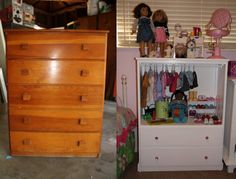 I saw this project on Pinterest as a dress-up cabinet and had to copy the idea. I bought the dresser for $20 at a thrift store. My husband r...