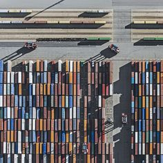 Client: Book Depository LINE: Now shipping to 120 countries world wide Visual: Books/shipping containers.  Gorgeous Aerial Photography Of A Shipping Harbor - DesignTAXI.com