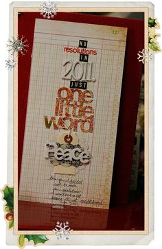 nice one little word cover Scrapbook Paper Crafts, Scrapbooking Ideas, Scrapbook Pages, Christmas Journal, Ali Edwards, Peace Of God, December Daily, Mini Books, Creative Gifts