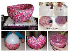 This confetti bowl is colorful and beautiful. It is a great project to do with your kids. What you need: -Balloon – Confetti – Mod podge – Sponge – Vase Follow the instructions in the link and share with us the picture of what you get! Confetti decorative bowl instructions …