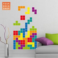 Colourful Retro Tetris Wall Sticker, From Red Candy