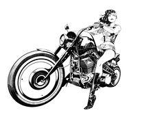 Wonder Woman has ditched her jet in favor of a motorcycle in this beautiful artwork by Dan Mora. Wonder Woman Kunst, Wonder Woman Art, Motorcycle Art, Motorcycle Posters, Lady Biker, Biker Girl, Comic Kunst, Comic Art, Harley Davidson Kunst