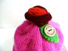Roses Are Red Baby Hat  6-12 months old  by sheilalikestoknit