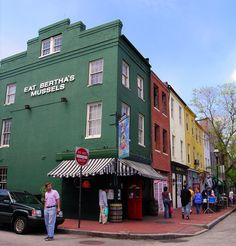 "Bertha's!  Our absolute favorite place for mussels and beer in Fells Point, Baltimore, MD - We even have the bumper sticker that say ""EAT BERTHA'S MUSSELS"""