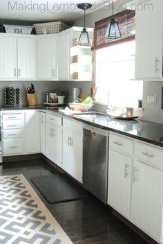 Budget-friendly kitchen renovation! {Modern White Kitchen Remodel} makinglemonadeblog.com