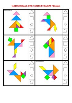 ELBLOGDESAMI.ORG-CONTAR-FIGURAS-002 Tangram Puzzles, Iq Puzzle, Daycare Curriculum, Grande Section, Spring Projects, Math Worksheets, Pattern Blocks, Kids Education, Children