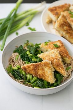 Panko Tofu and Sauteed Kale Soba with a Miso Soy Sesame Dressing. #vegan