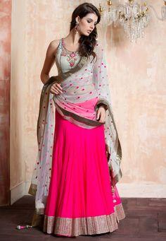 Dark Pink Net Readymade Lehenga Choli with Dupatta Online Shopping: LMZ12