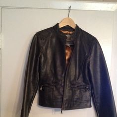 Faux Pas leather jacket Off black motorcycle (minus) leather jacket. Really cute with some fitted jeans and knee boots. Minor issue with zipper. Jackets & Coats
