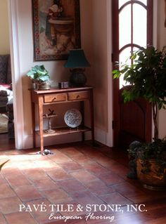 terra cotta tile flooring with oak cabinets | St. Tropez French Terra Cotta Parefeuille