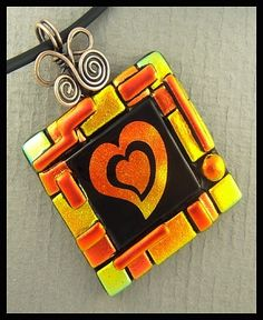 Original dichroic glass pendant..Etched Heart..SRA.