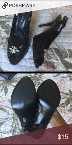 ALDO BLACK OPEN TOE HEELS Size 6, 3 inches, sexy in your toe, Aldo Shoes Heels