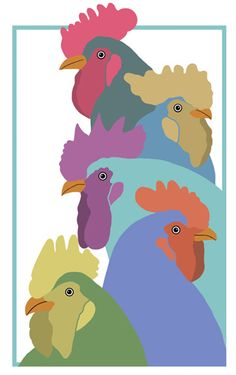 Coloured Collection of Cockerels by OnePinkGoose, via Flickr