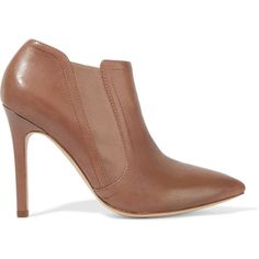 Halston Heritage - Wendy Ankle Boots ($248) ❤ liked on Polyvore featuring shoes, boots, ankle booties, tan, pointed-toe ankle boots, pointy-toe ankle boots, high heel boots, pointed toe booties and tan leather booties