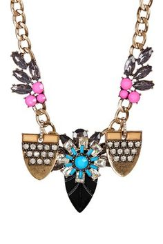 Flower Crystal Medallion Necklace