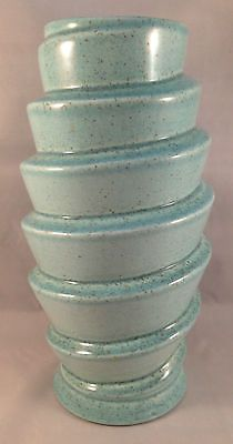 Unusual Mid Century Red Wing Pottery Vase 1832 Spiral Blue Speckles Redwing