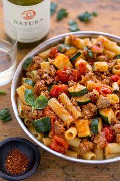 Rigatoni with Sausage, Tomatoes, and Zucchini. #pasta #rigatoniwithsausage #sausage #rigatoni #dinner #easypastarecipes #comfortfood #zucchinipasta