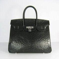 Sacs Hermès Pas Cher Birkin 35cm Ostrich Veins Sac Noir 6089