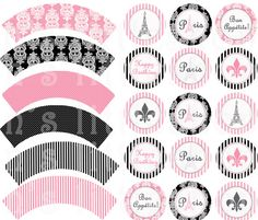 PARIS Theme Party cupcake wrappers and 2 inch circle tags, you can use as cupcake toppers, tags, decorating cups and much more.. $4.50, via Etsy.