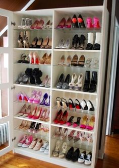 DIY Bookshelf Turned Into A Shoe Rack. ->