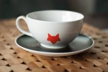"Dress up your traditional tea cups with sassy glass paints. Love this fox inspired design. I call is ""Nogitsune"" in honor of my favorite Teen Wolf character, Dylan O'Brien's Stiles (""Nogitsune"") Stilinski. Sigh ;)"