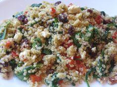 Quinoa salad with spinach, pecans, cranberries...