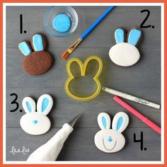 Use this cookie decorating tutorial to learn how to make cute and simple Easter Bunny sugar cookies! Cookie Icing, Royal Icing Cookies, Cupcake Cookies, Sugar Cookies, Cookies Et Biscuits, Cookie Favors, Baby Cookies, Heart Cookies, Iced Cookies