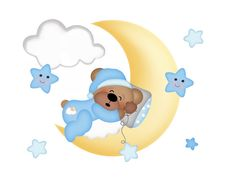 TEDDY BEAR MURAL Wall Art Decals for baby boy nursery room decor. Floating on the clouds, sleepy Teddy Bear enjoys being lulled to sleep by his friend the bright yellow moon along with the playful stars #decampstudios