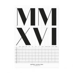 Calendar MMXVI 2016 poster, 50 x 70 cm, white