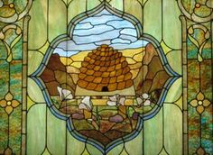 Stained glass in Salt Lake City, Utah featuring beehive - photo © bookchen on Flickr