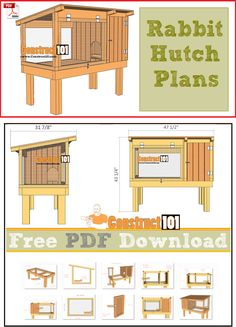 Rabbit hutch plans, free PDF download, cutting list, and shopping list.