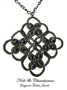 Le Noir - collana a chiacchierino - tatting necklace