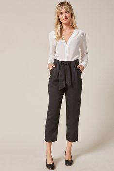 Anissa TENCEL™ Twill Pant (Black) – Crop Pants – Amour Vert Silk Jumpsuit, Silk Pants, Denim Jumpsuit, Wide Leg Cropped Pants, Black Pants, Navy Pants, Greece Outfit, Knit Skirt, How To Wear