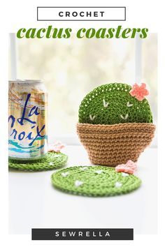 These crochet cactus coasters are so cute for trendy summer home decor! The cotton yarn I used is great for absorption of drippy drinks, and holds up really well. My free pattern is quick and easy for a one day project. Crochet Bunny, Diy Crochet, Crochet Ideas To Sell, Quick Crochet, Crochet Things, Crochet Gifts, Crochet Doilies, Crochet Coaster Pattern, Crochet Cactus Free Pattern