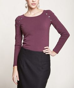 Take a look at this Burgundy Buttons Top by Peruvian Atelier on #zulily today! $34 !!
