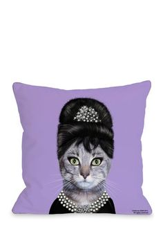 Breakfast Decorative Pillow - Audrey kitty :)