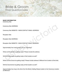 Bride Groom Wedding Questionnaires For Photographers Set Of 2