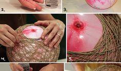 DIY woven hemp lamps