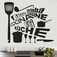 Cuisine en Langues PVC stickers muraux décor peint Décoration de la maison -1037