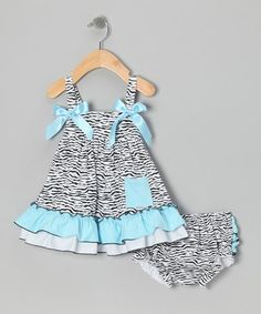 Take a look at this Turquoise Zebra Swing Top & Diaper Cover - Infant by Royal Baby by Royal Gem Clothing on #zulily today!